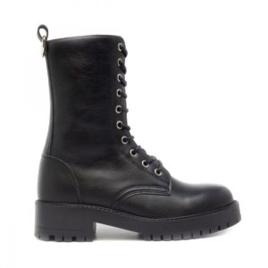 black Vegan lace-up boots